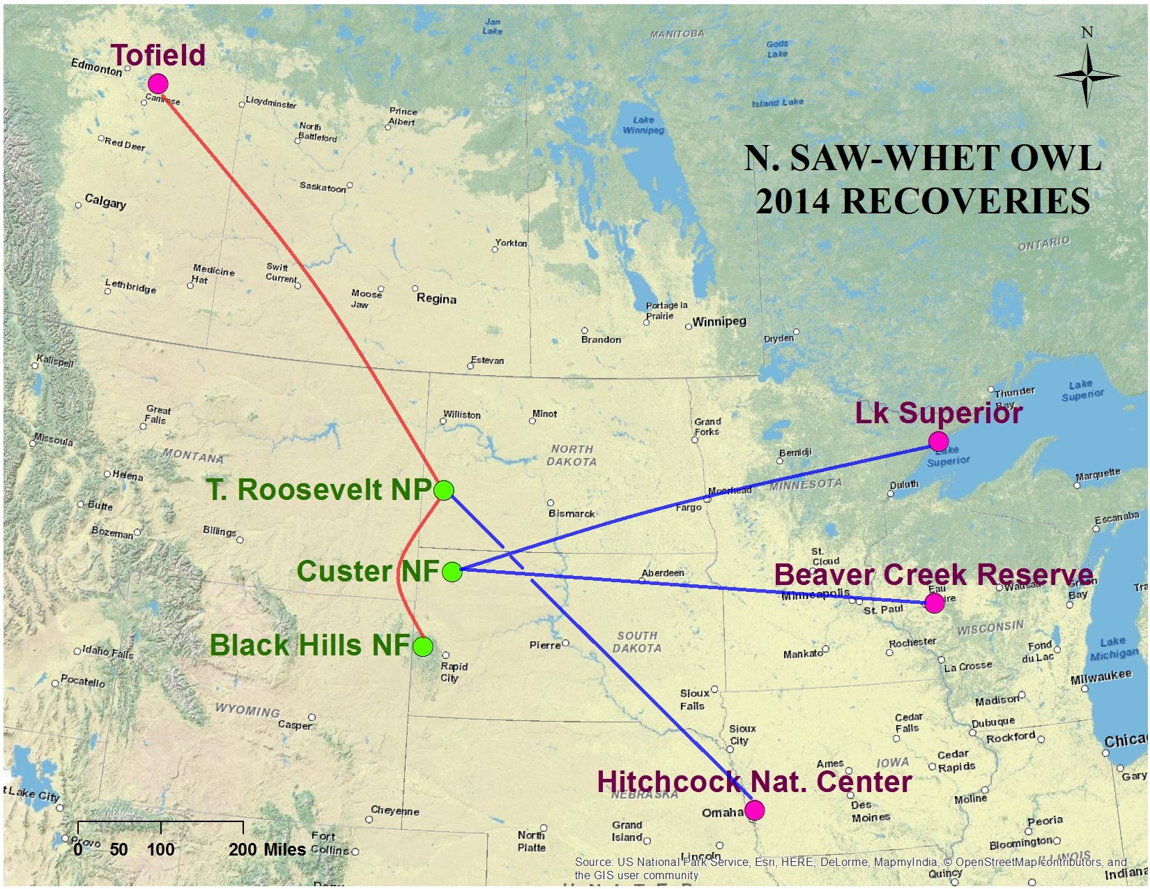 2014 Northern Saw-whet Owl Map