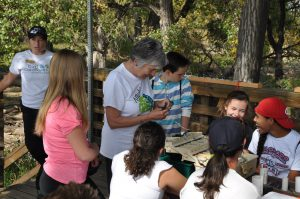 Seventh grade students watch the bird banding process. Photo by Peggy Watson
