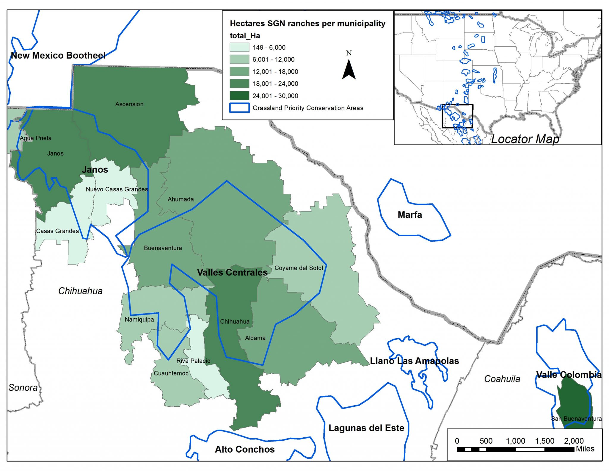 Map showing the distribution of ranches enrolled in Bird Conservancy and IMC Vida Silvestre's Sustainable Grazing Network (SGN) across municipalities in northern Mexico that support grassland bird conservation.
